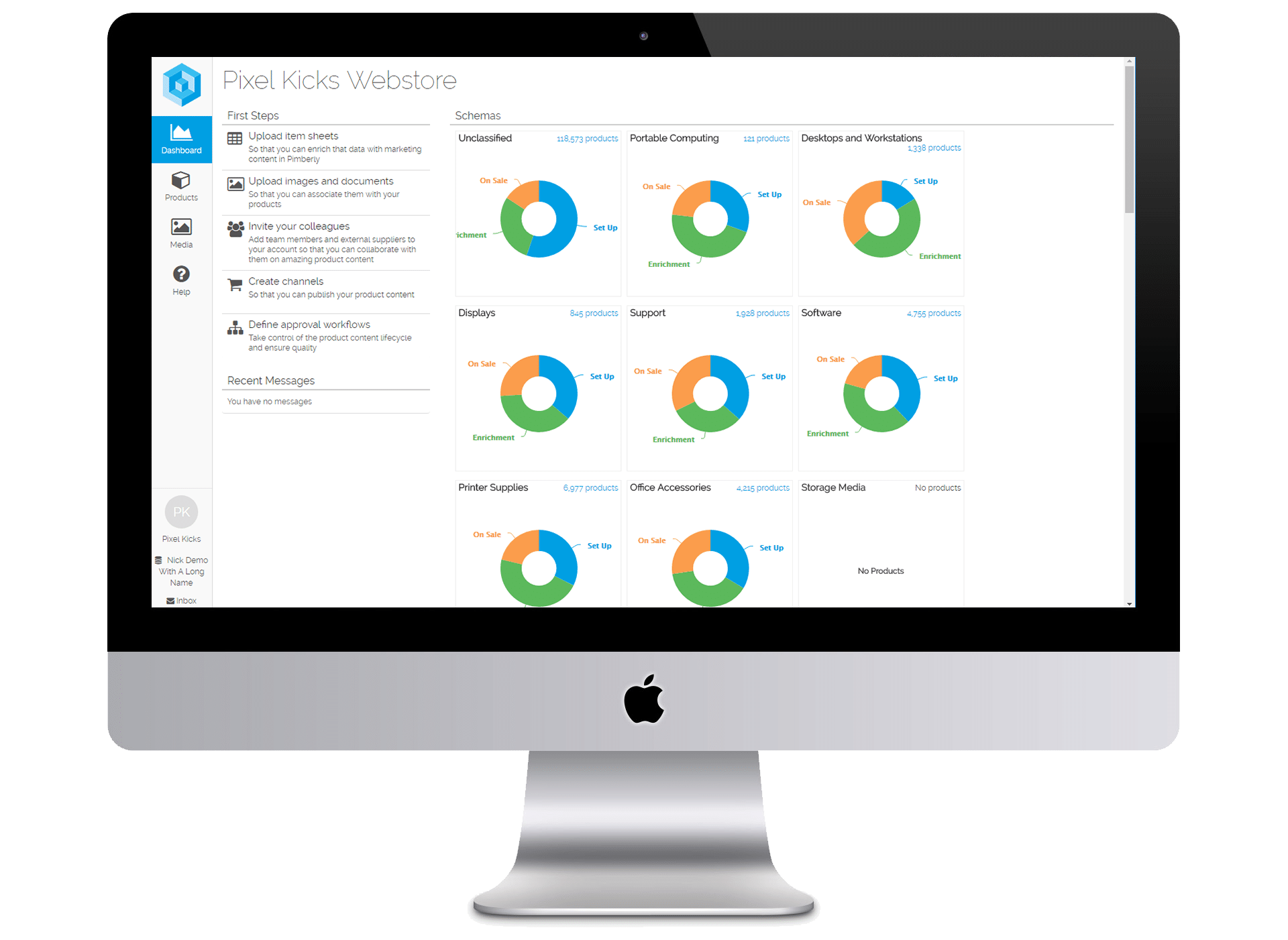 Screen with Pimberly PIM platform - showing Product Information Management dashboard