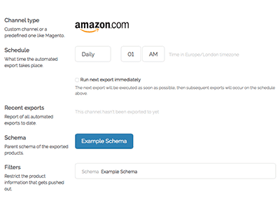 Exporting product data to Amazon from Pimberly