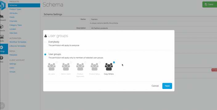 Screenshot User Access Control in Pimberly