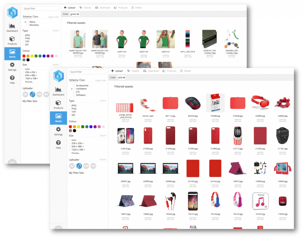 Pimberly screenshots: Digital Asset Management