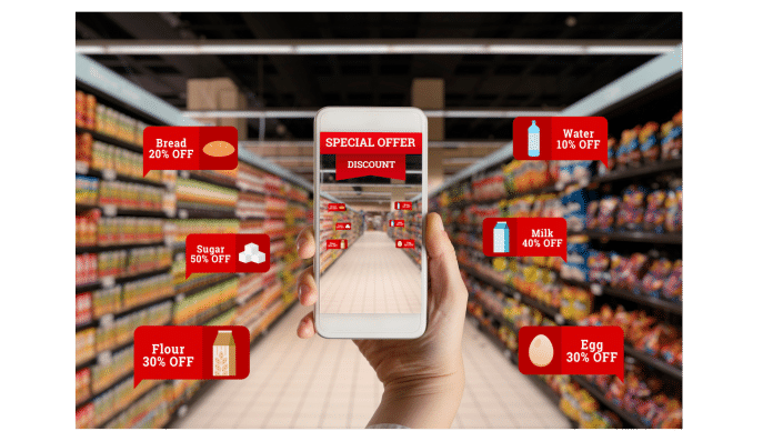 Interactive mobile app showing product information and offers in a supermarket