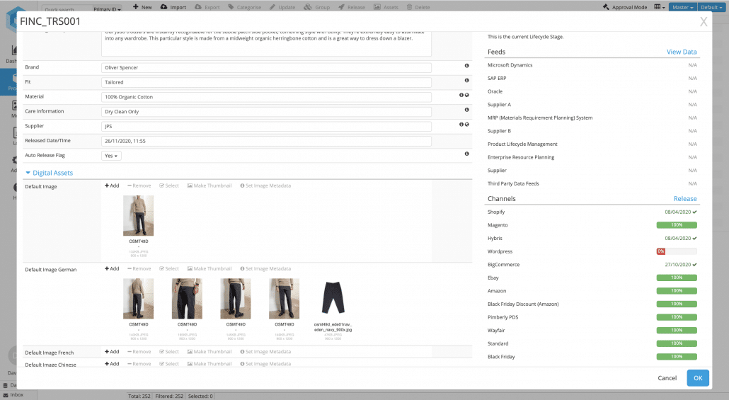 Editing product information using Pimberly's cloud based PIM software
