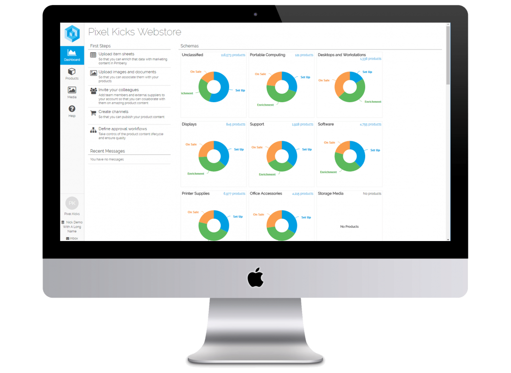 Pimberly's dashboards give you clear visibility over the status and quality of all your product data across channels and ranges.