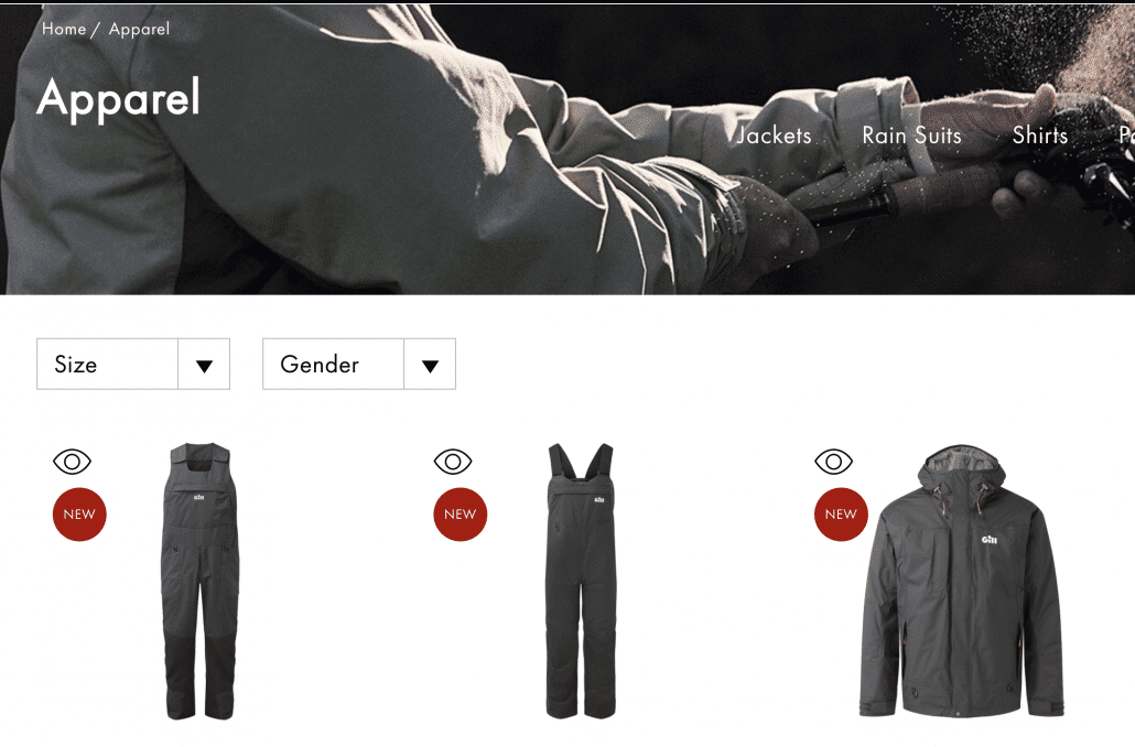 Gill Marine eCommerce Screenshot